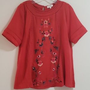 Umgee Embroidered Red Flowy Boho Top, Sz L